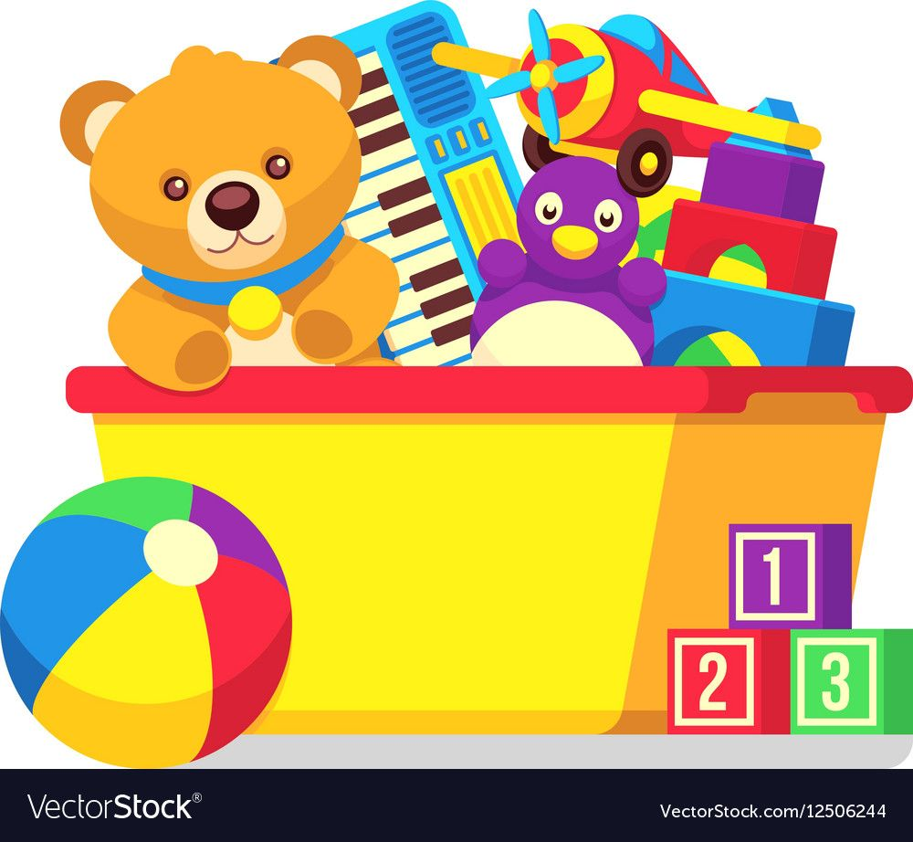 Kids Toys In Box Clipart Vector Image On Festa Tema Brinquedo
