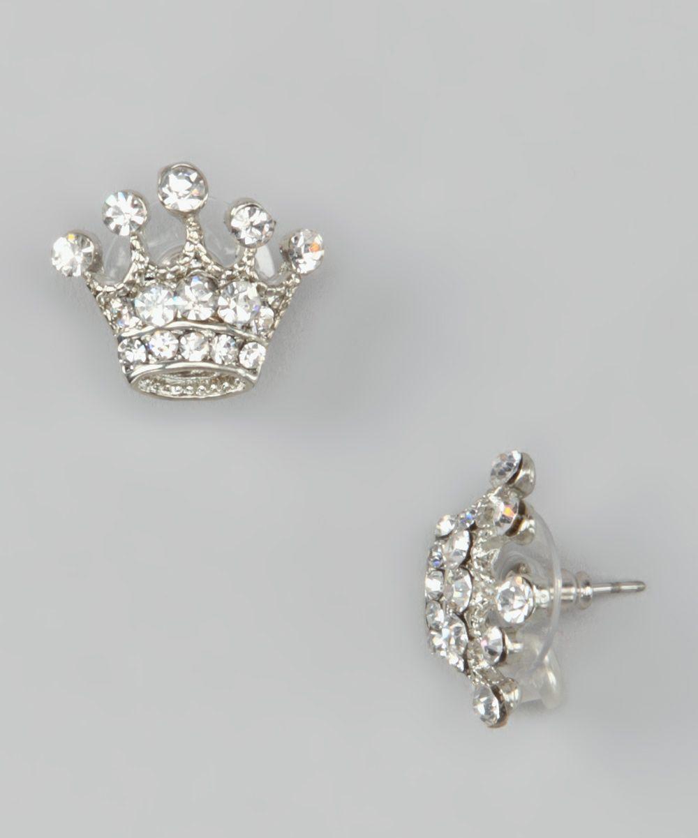 Silver Crystal Crown Stud Earrings