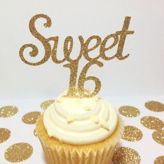 SWEET 16 CUPCAKE TOPPERS Happy Sweet 16 Gold by APartyInABag