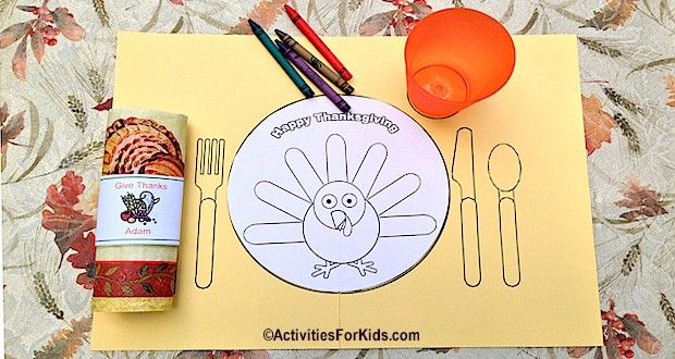 Free Turkey Coloring Pages For Kindergarten : Printable thanksgiving placemat for kids placemat thanksgiving