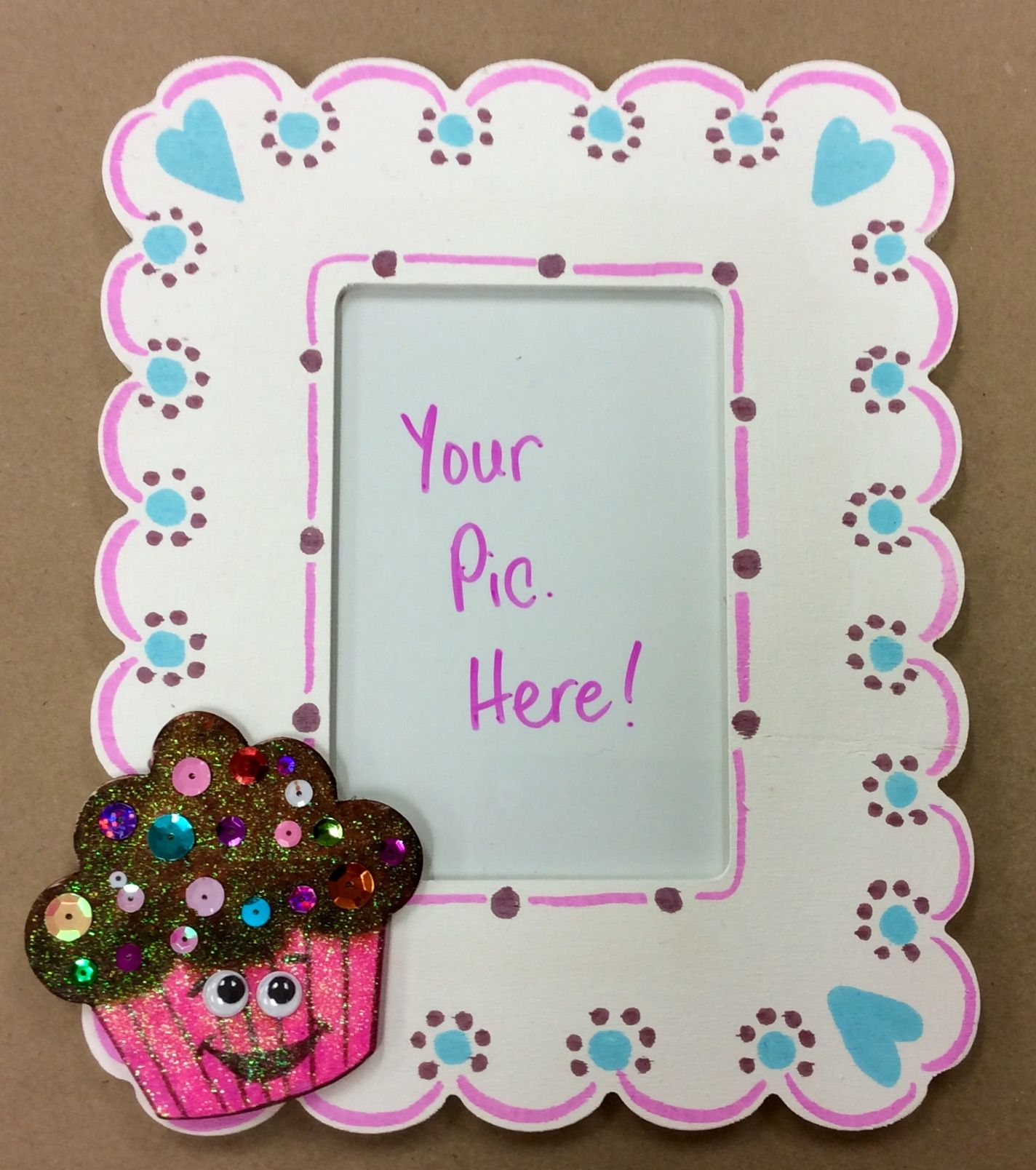 shopkins cupcake frame craft i made for ac moore pre paint frames white
