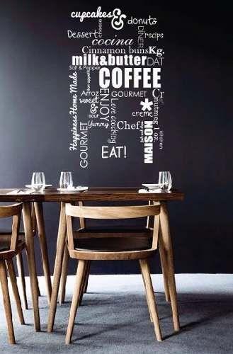 vinilo decorativo mural cocina o comedor coffee! 60x100cm ...