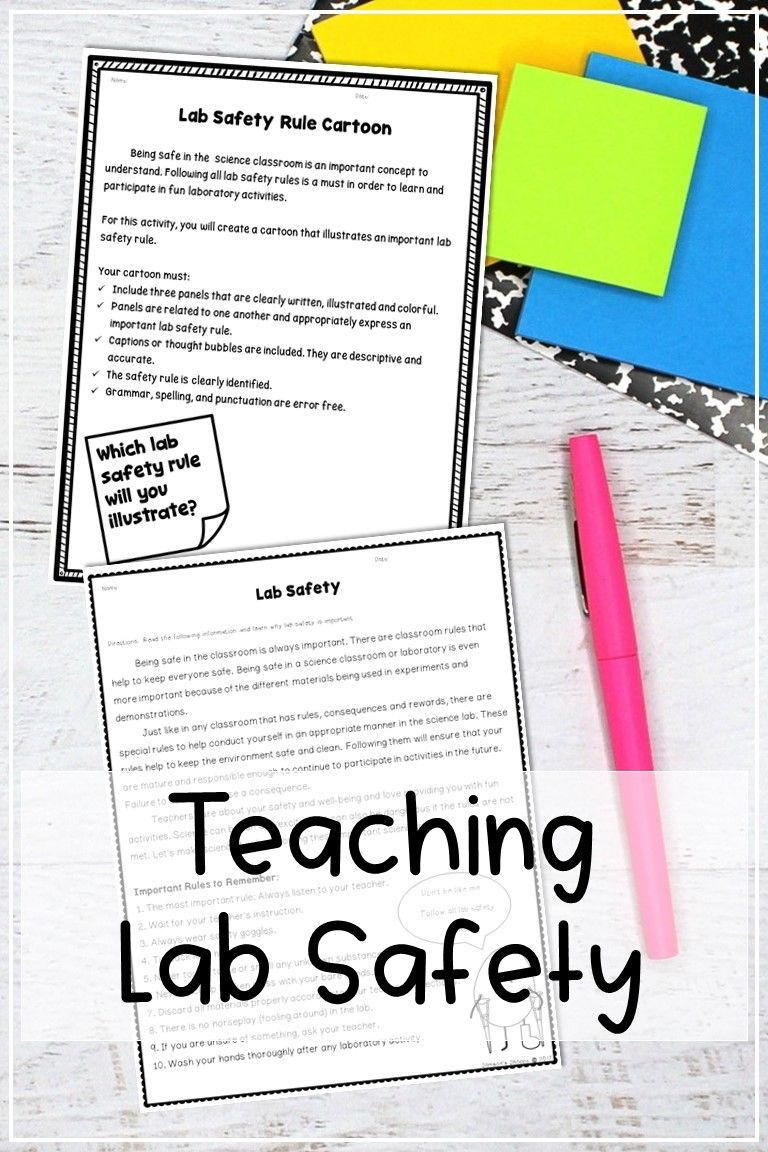 Lab Safety Reading Activity and Project in 2020 Upper