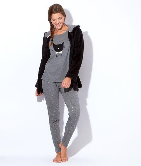 pyjama 3 pieces veste polaire pantalon noeuds top chat. Black Bedroom Furniture Sets. Home Design Ideas