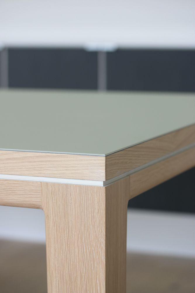 Tisch Esstisch Schreibtisch R10 Eiche Massivholz Linoleuem Pistachio  table linoleum pistachio