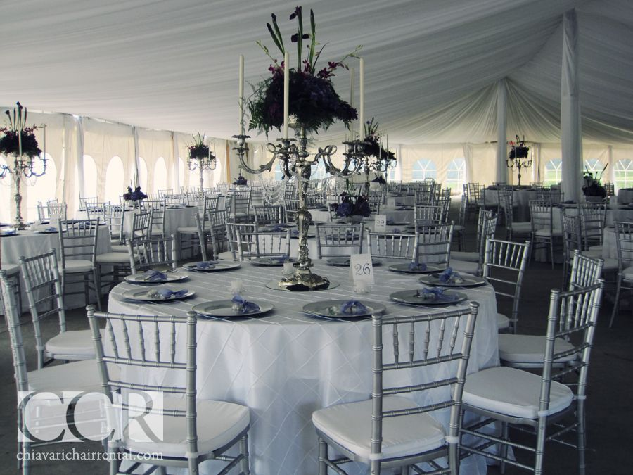 White Table Cloth With Silver Chiavari Chairs Silver Chiavari Chairs Chiavari Chairs Wedding Wedding Reception Chairs