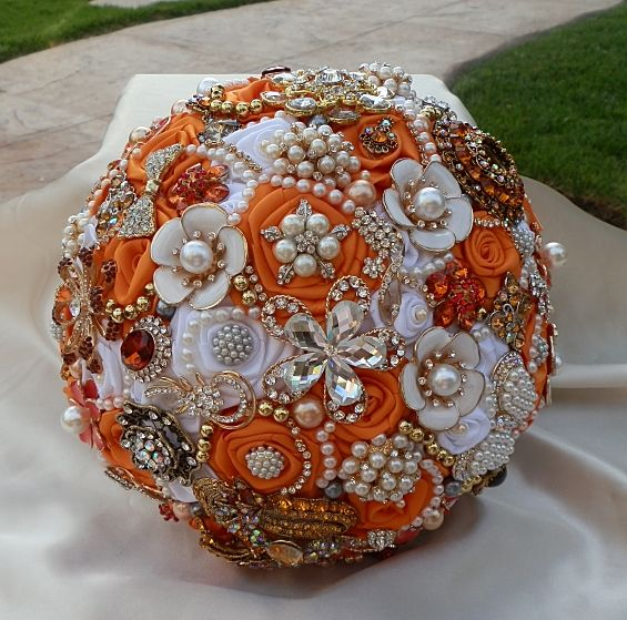 Burnt Orange Bridal Bouquet.  Custom Jeweled Brides Bouquet from https://www.etsy.com/shop/Elegantweddingdecor