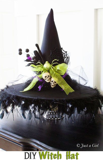 2f0e7799a0f69 DIY Witch Hat - Halloween Decor from Just a Girl. Tutorial at TidyMom.net