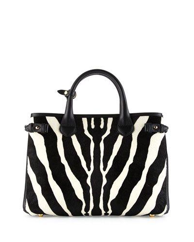 818695fee64a Burberry zebra-print dyed calf hair (New Zealand) tote bag. Grained  calfskin…