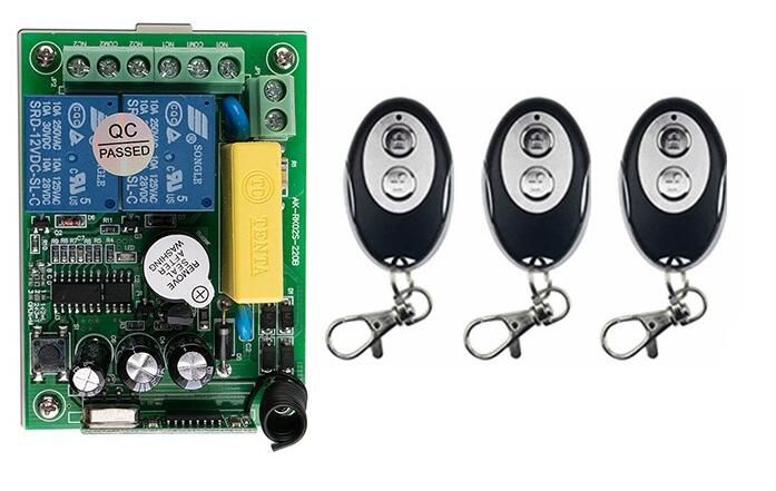 Hot Sales Ac220 2ch 10a Wireless Remote Control Switch System 1 Receiver And 3 Ellipse Shape Transmitter Applicance G Ellipse Shape Remote Control Transmitter
