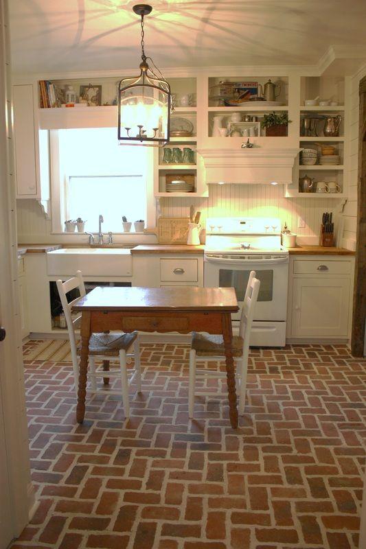 Kitchen Ceramic Tile Ideas Brick Floor Kitchen Trendy Farmhouse