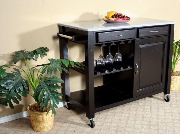Black Bar Cart W/ Granite Top