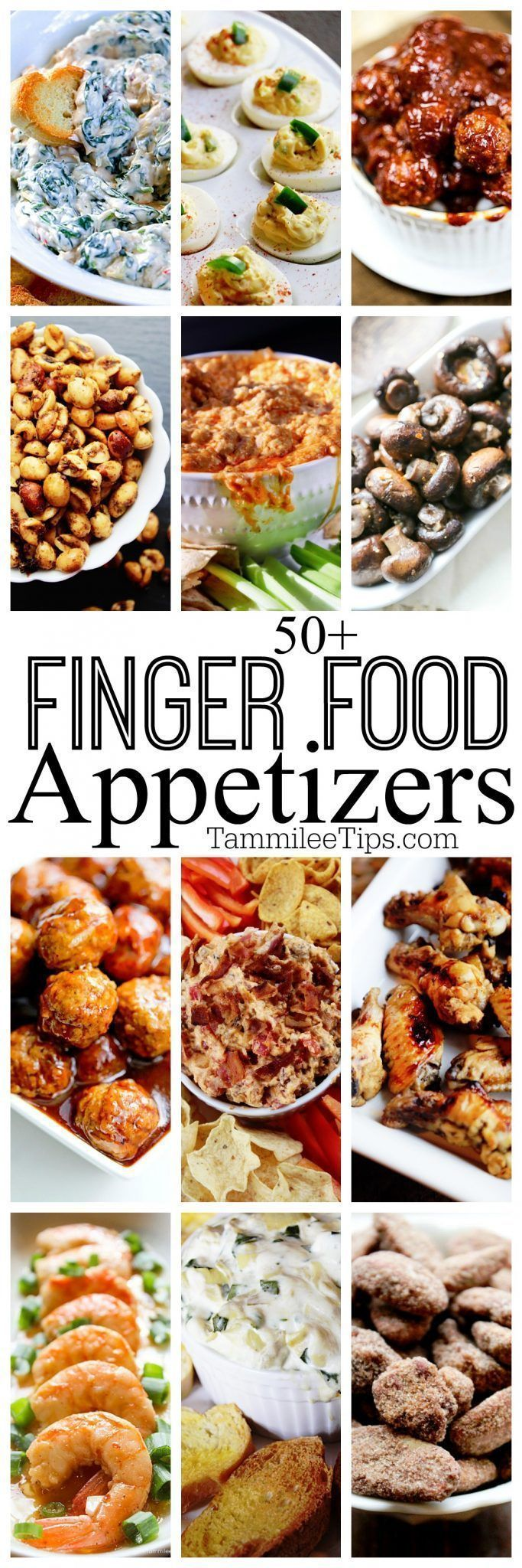 50+ finger food appetizer recipes perfect for holiday parties, super bowl football parties, birthda