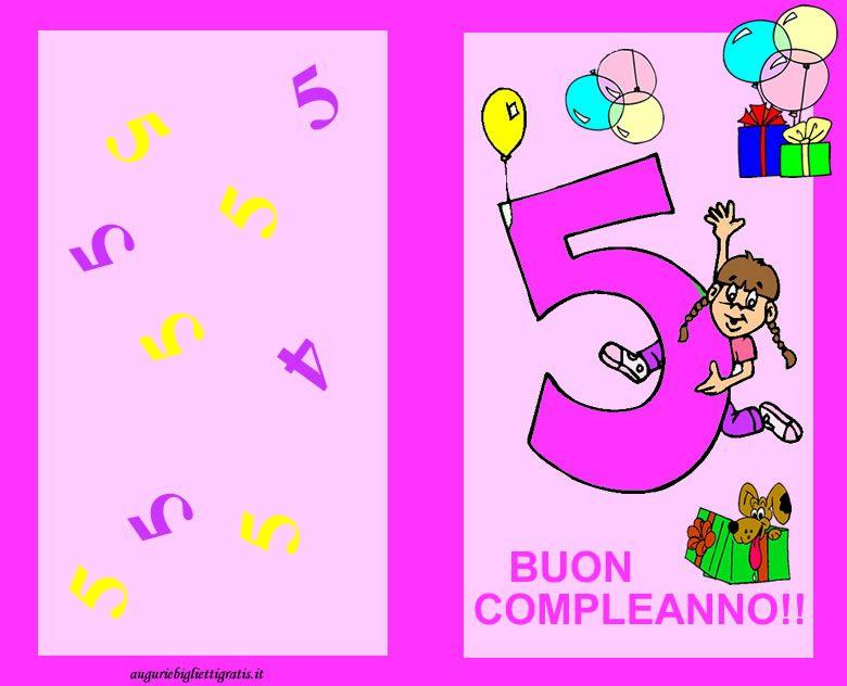 Auguri Buon Compleanno 5 Anni.Biglietto Di Auguri Rosa Con Numero 5 Centrale Rosa E