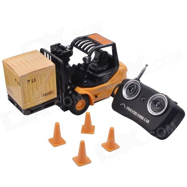Mini Desktop 6-CH Radio Remote Control Engineering Forklift Toy - Yellow. This is a fully-operational radio rem