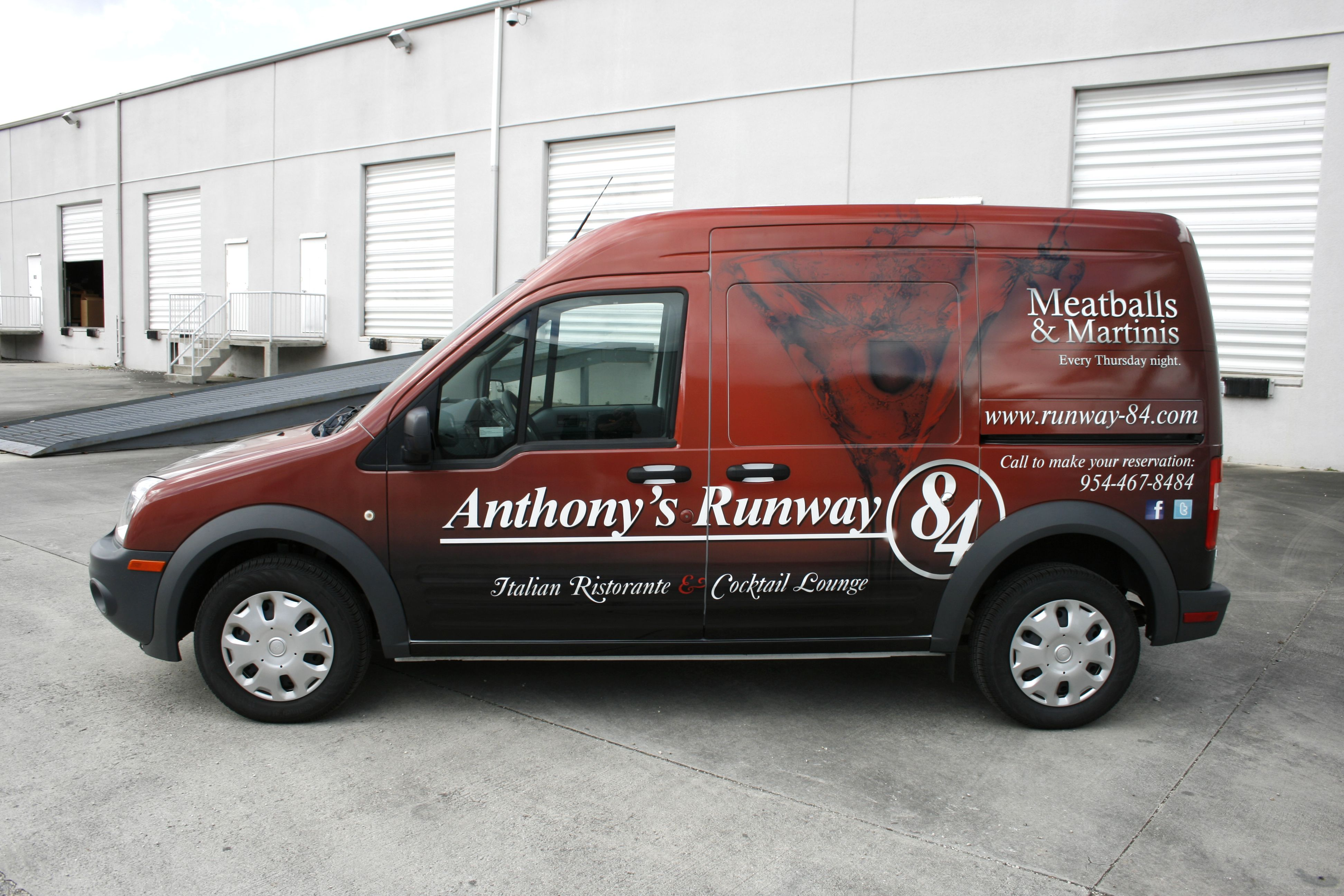 Ford transit connect 3m vinyl vehicle wrap davie florida anthony s runway 84 restaurant http