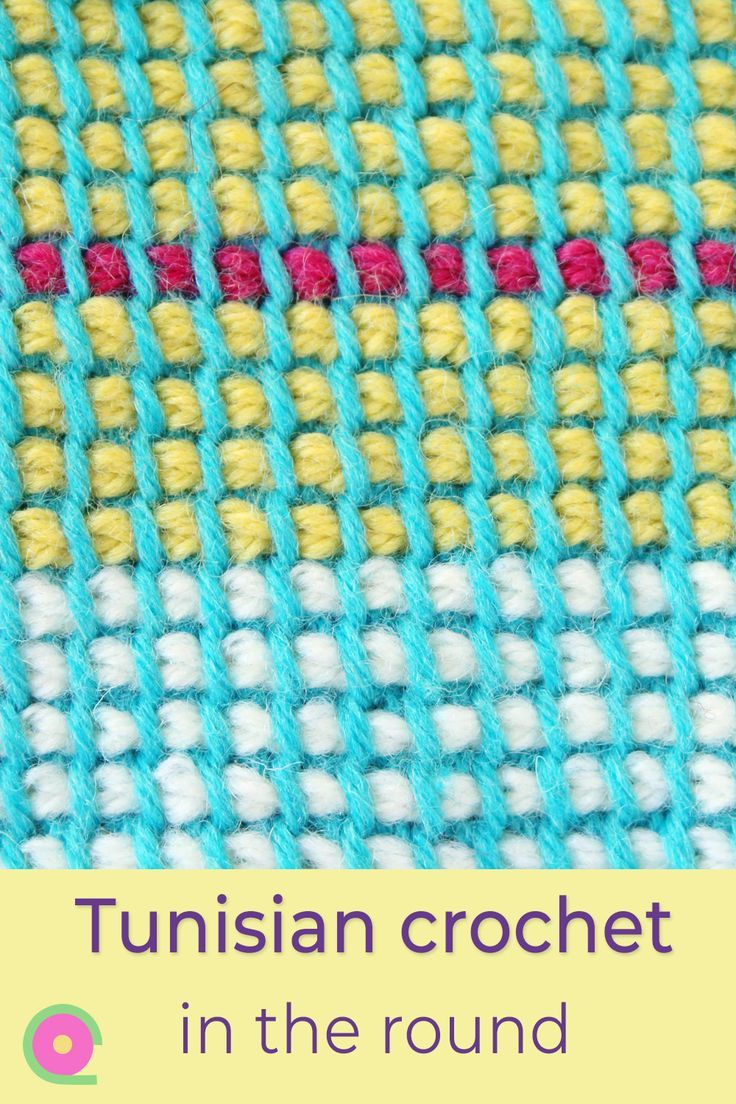 Tunisian crochet in the round in two colors