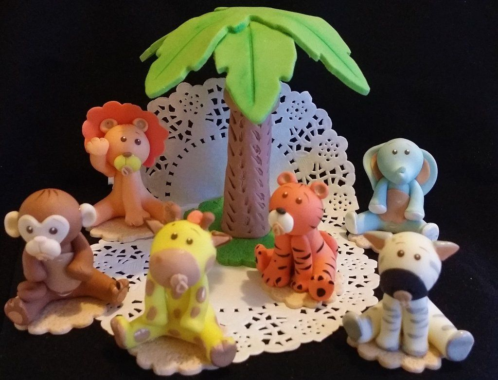 Cute Baby Animals Jungle Cake Toppers Party Decoration Animal Safari