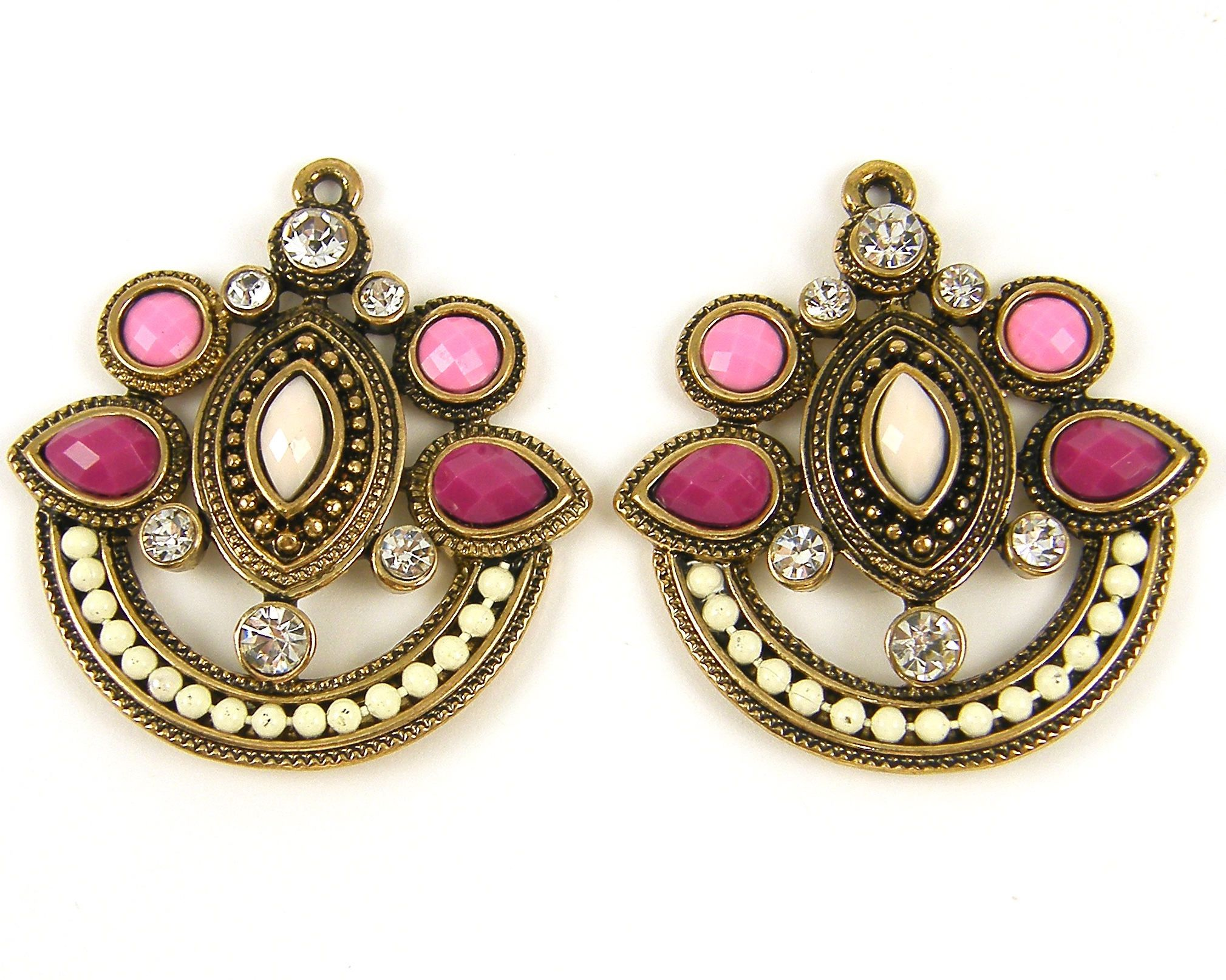 Pink and antique gold chandelier earring findings pink magenta pink and antique gold chandelier earring findings pink magenta rhinestone boho earring drop ornate pendant jewelry arubaitofo Image collections