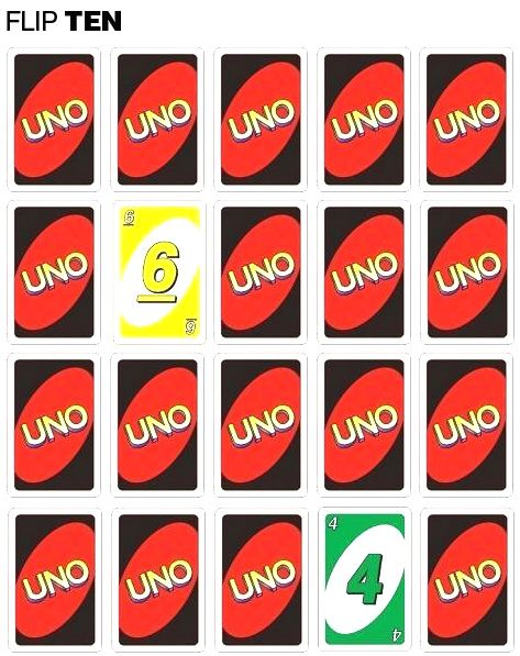 Flip Ten game with Uno cards Line up cards in 4 rows of 5 Flip two