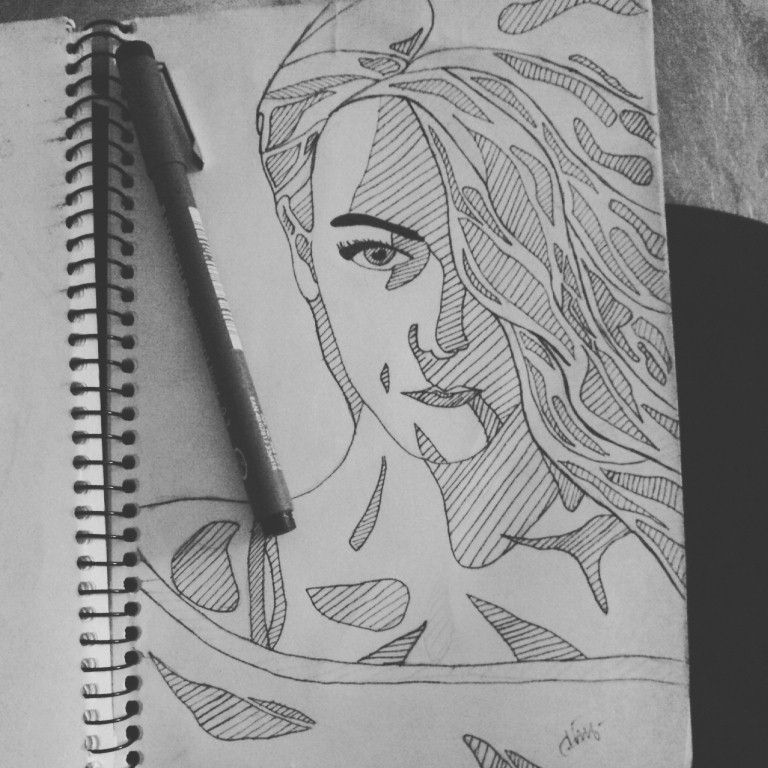 #girl #draw #pen