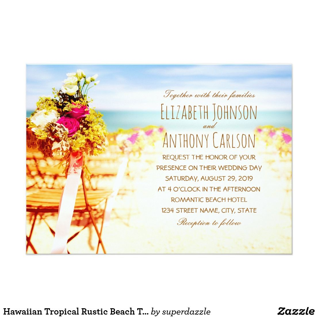 Hawaiian Tropical Rustic Beach Themed Wedding Card Invitations Feature An Beautiful Ocean: Hawaiian Beach Theme Wedding Invitation At Websimilar.org