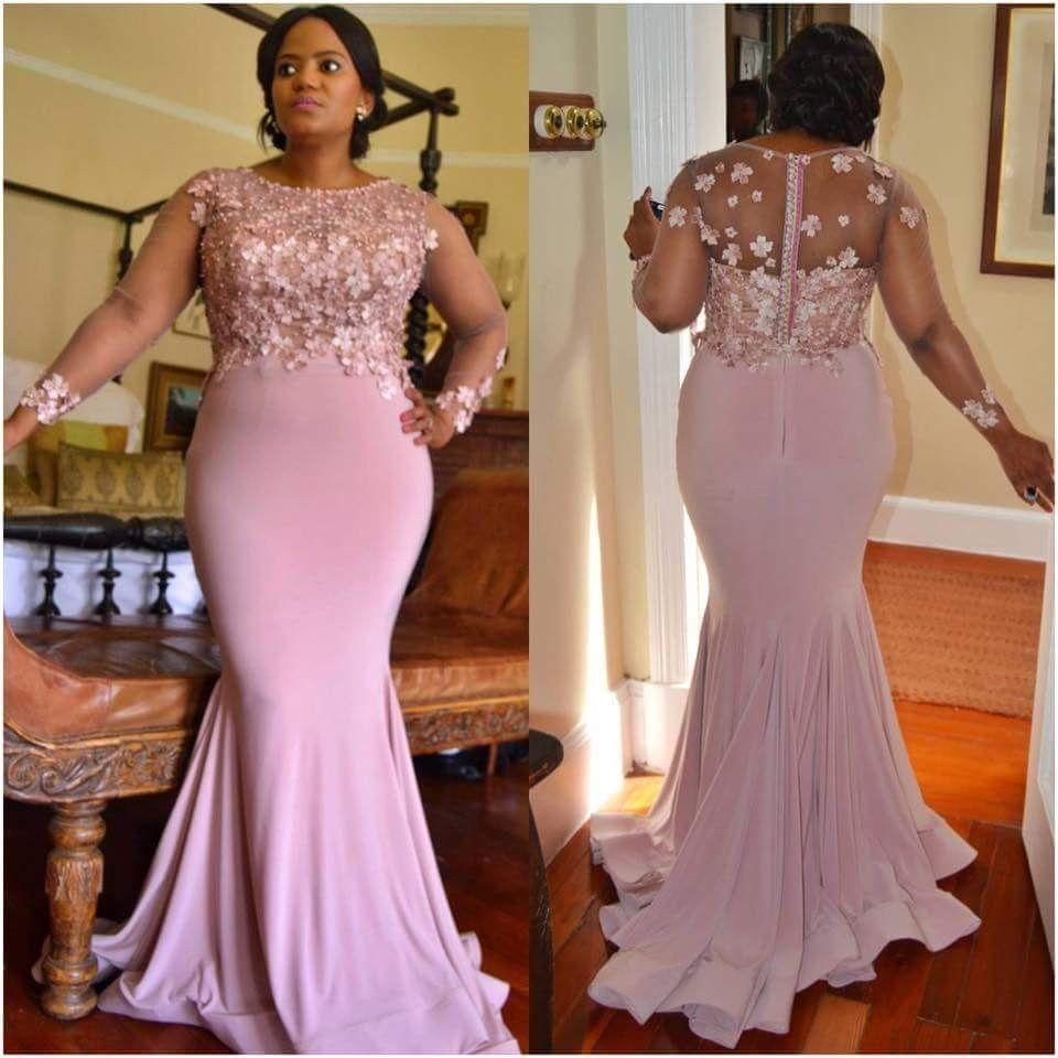 Plus size african wedding dresses  Scoop Neck Long Sleeves Plus Size Bridesmaid Dresses Mermaid Prom