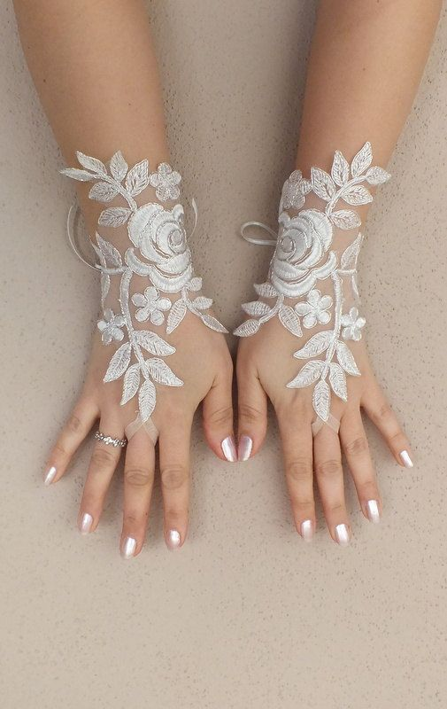 Victorian Lace and pearl Bridal Gloves Steampunk Wedding Costume