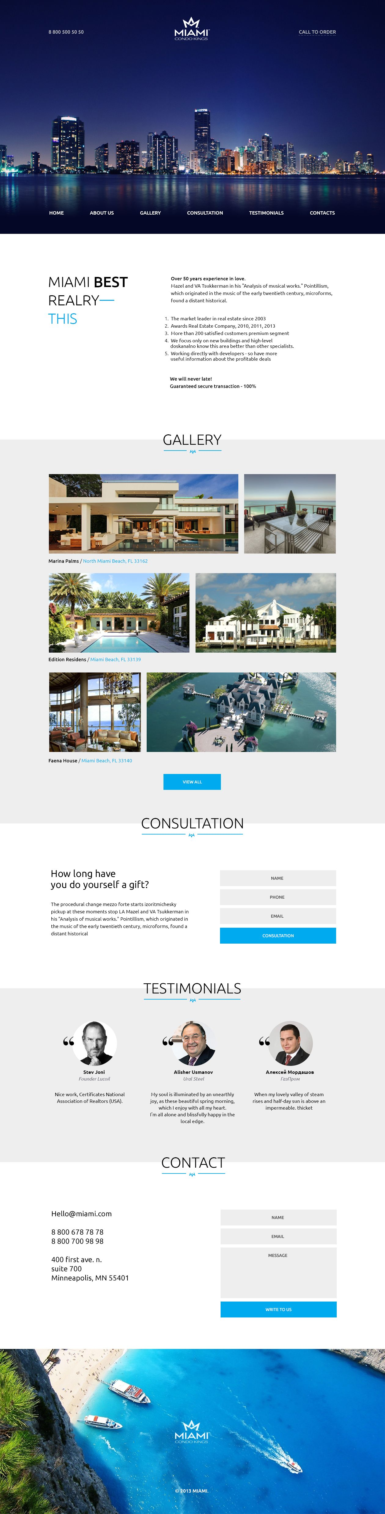 Miami 365psd Free Psd Download Of This Real Estate One Page Website Real Estates Design Web Design Web Layout Design