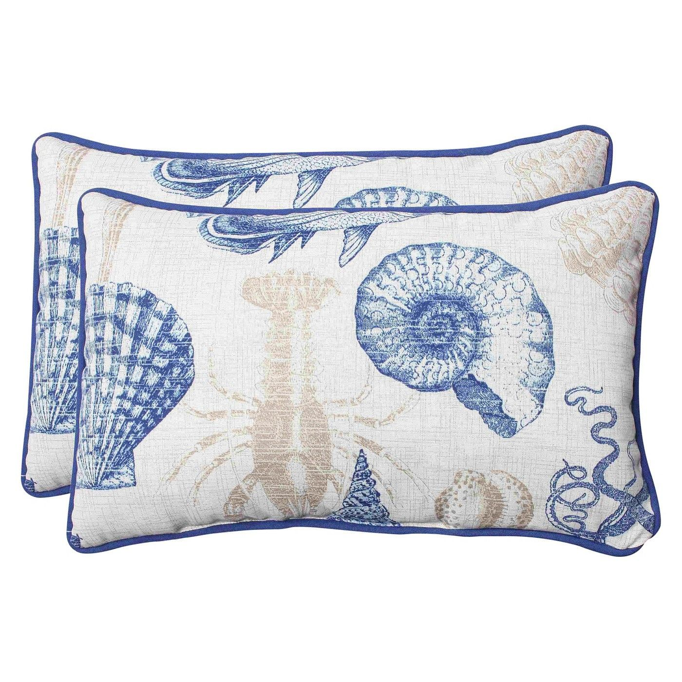 Outdoor 2 Piece Lumbar Throw Pillow Set Sealife You Can Turn Your Outdoor Seating Area Into A Coastal Oasis Wi Perfect Pillow Throw Pillow Sets Throw Pillows