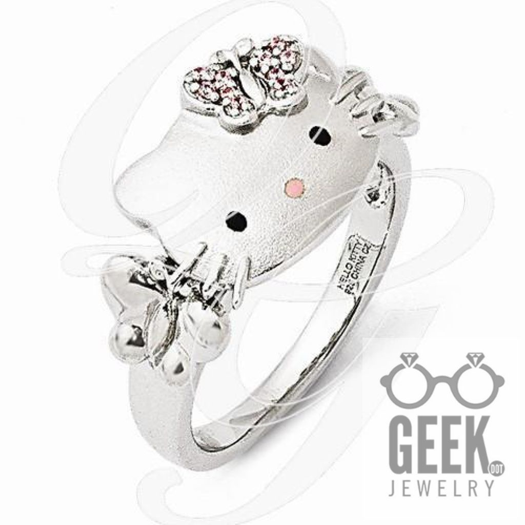 88c5794db Sterling Silver Hello Kitty Pink Swarovski Crystal/Enamel Butterfly Ring