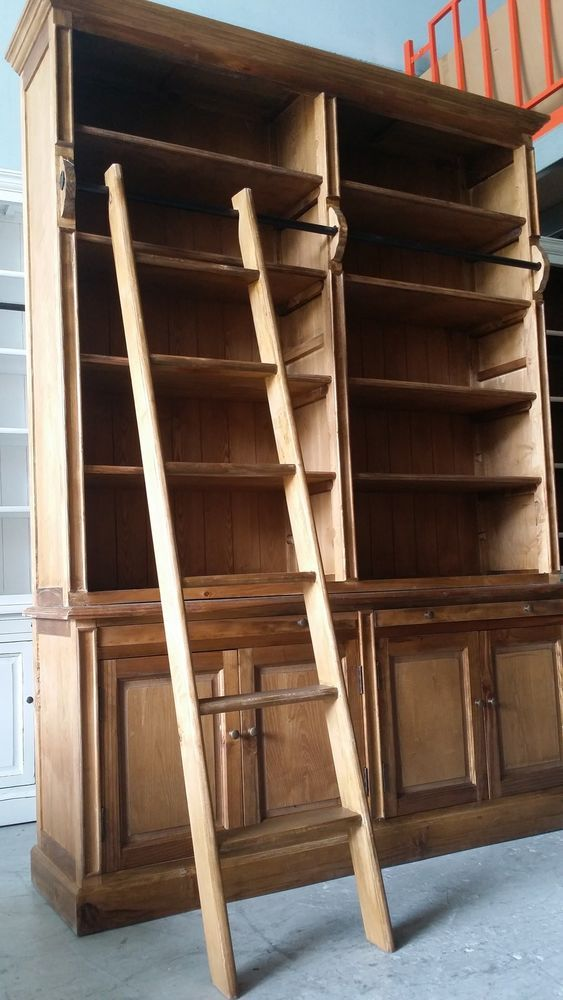 New French Provincial Library Bookcase Shelf Kitchen Display Ladder Natural