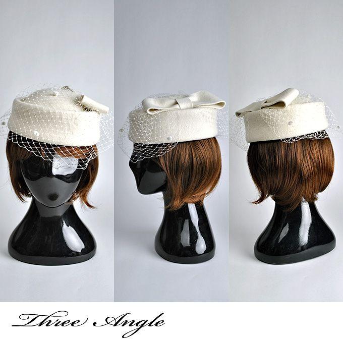 楽天市場】【送料無料】ネットレースがついた白いトーク帽です ...