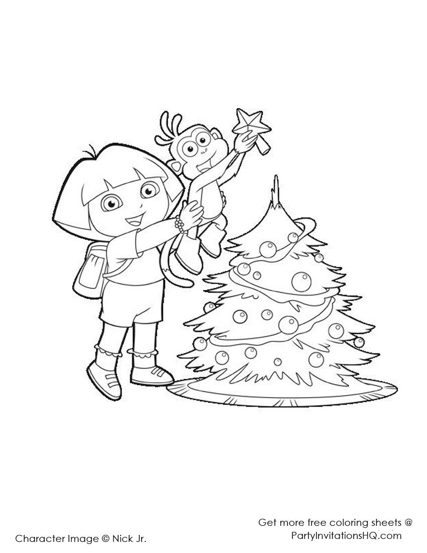 Dora Christmas Coloring Pages 2
