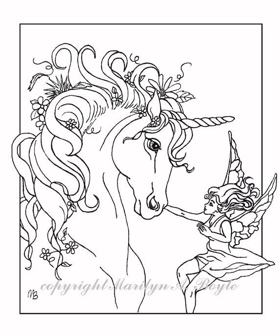 Printable Unicorn Coloring Pages For Adults : Set of four poster or coloring pages; fantasy unicorn fairy