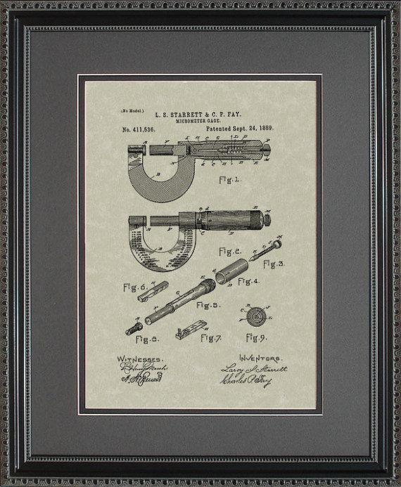 Starrett Micrometer Patent Artwork Engineer Machinist Manufacturer - new machinist blueprint examples