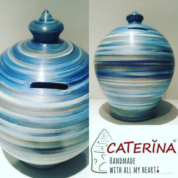 Piggy bank ceramic coin bank pottery anniversary gift for Coin arredamento