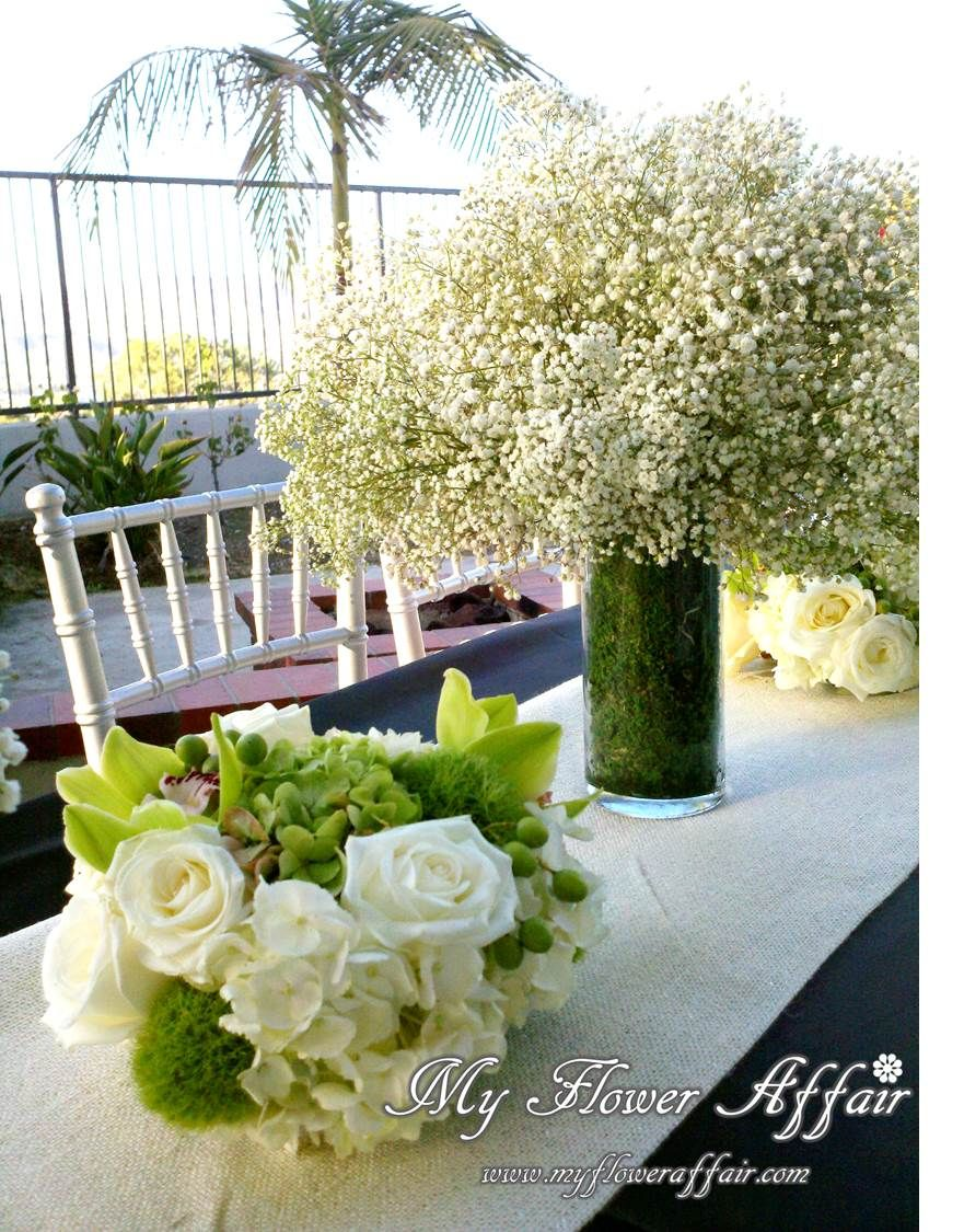 Green white rustic wedding flowers and custom linens by my