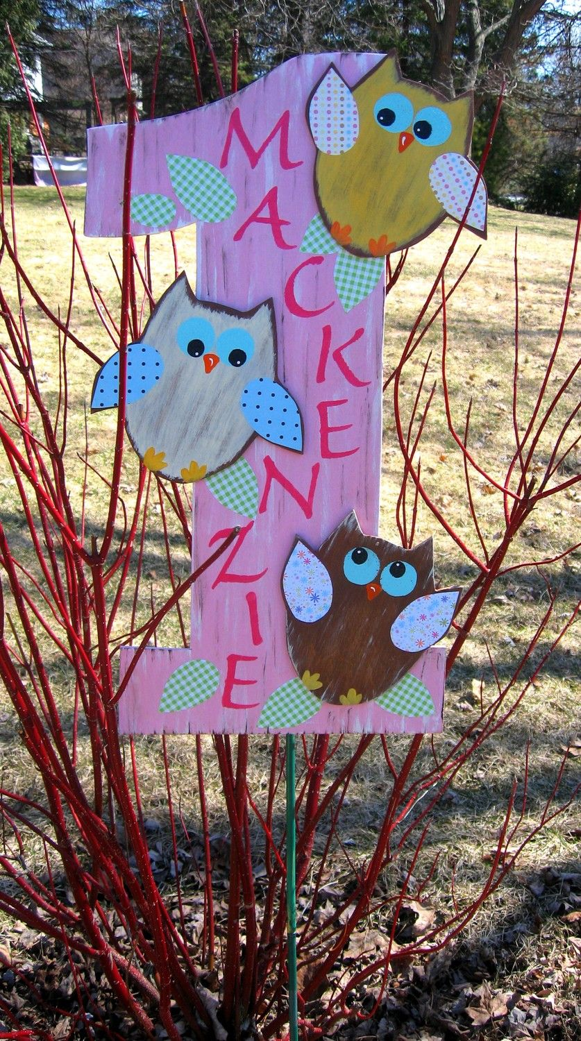 Happy First Birthday Brooke Owl Prop Sign Wood