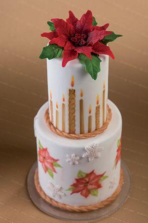 Stampo Stella Di Natale.Torta Decorata Con Stampi Stella Di Natale E Aerografia Cake With