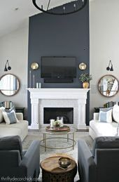 fireplace wall transformation with paint Tall fireplace wall transformation with paint Tall fireplace wall transformation with paint Painting on make some flowers with pi...