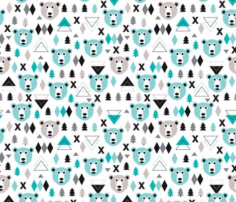 geometric winter polar bear and scandinavian pine tree. Black Bedroom Furniture Sets. Home Design Ideas