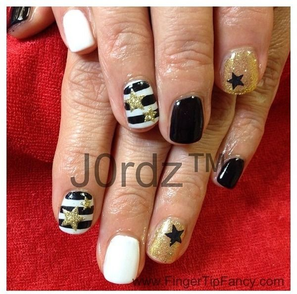 Black White Gold Nails White Nails With Gold Gold Nails Gold Nail Designs