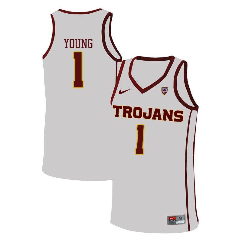 21ac9dda Men #1 Nick Young USC Trojans College Basketball Jerseys Sale-White ...