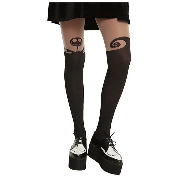 The Nightmare Before Christmas Faux Thigh High Tights | Hot Topic ($15) ❤ liked on Polyvore featuring intimates, hosiery, tights, socks, pants, socks and tights, socks/tights, christmas hosiery, thigh high tights and thigh high pantyhose