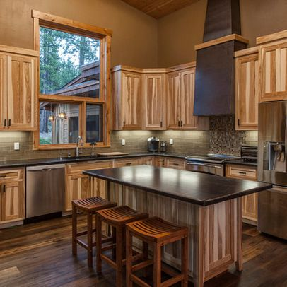 Brown Tile Backsplash Design Ideas Pictures Remodel And Decor Hickory Kitchen Cabinets Kitchen Renovation Inspiration Rustic Kitchen Cabinets