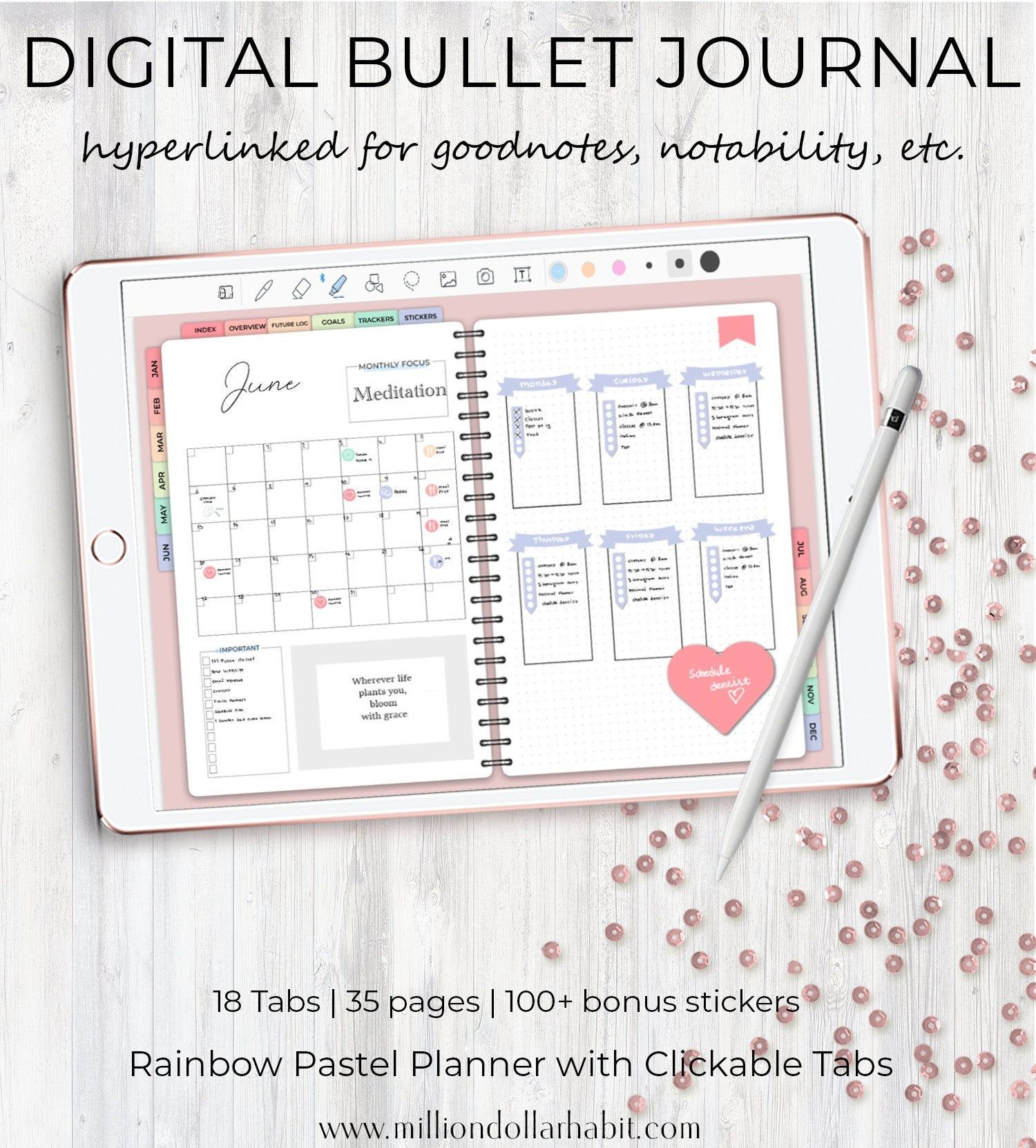 Digital Bullet Journal for Goodnotes and Notability Bullet | Etsy
