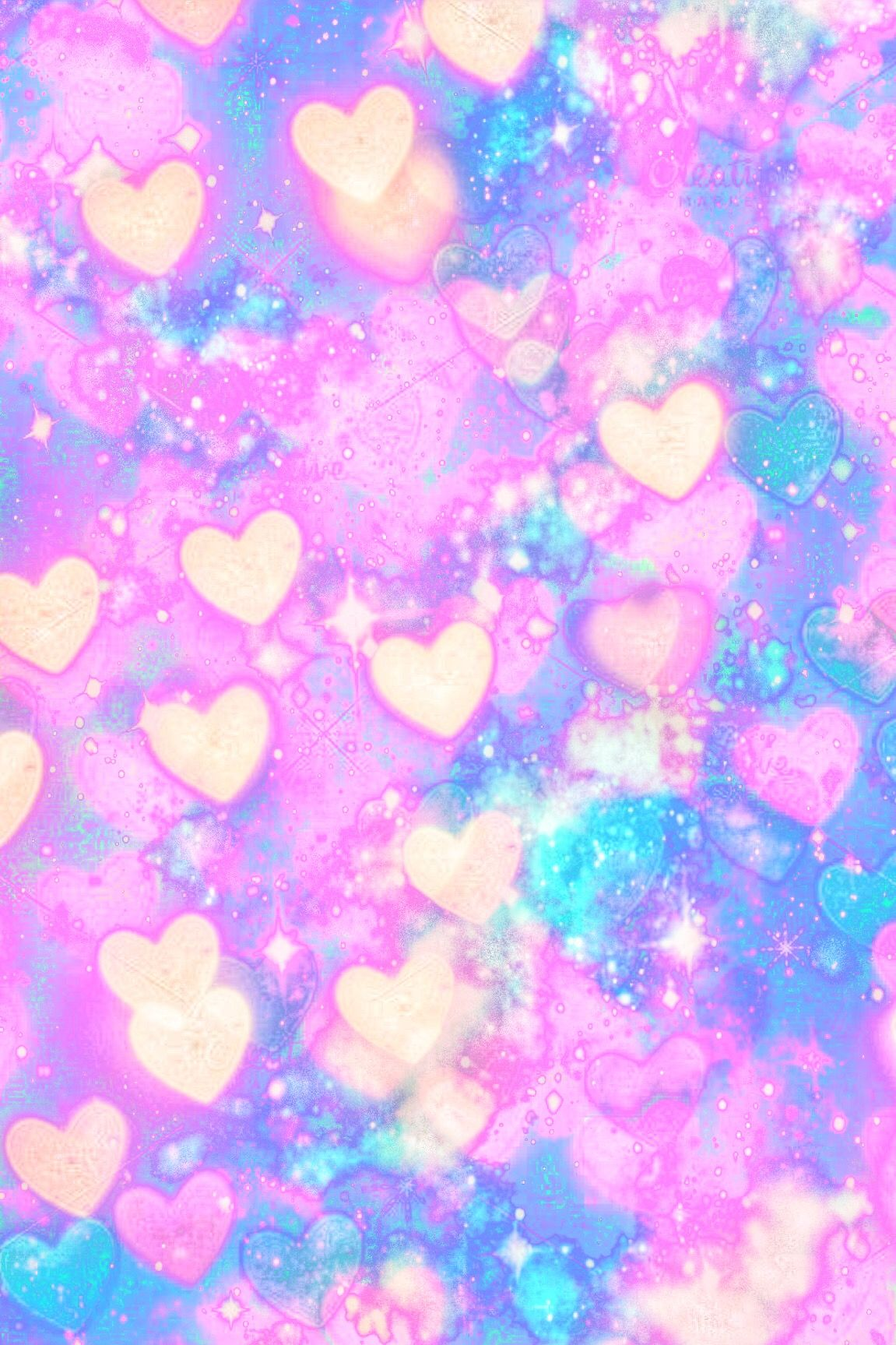 Wallpaper Lockscreen Glitter Sparkle Galaxy Pastel Hearts Love Cute Girly Bokeh Pink Blue Trendy Wallpaper Wallpaper Iphone Love Heart Wallpaper