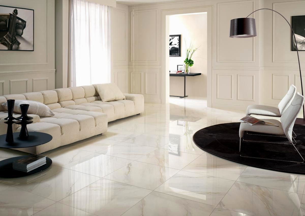 Modern Living Room With Marble Flooring Design And Also Floor Tile ...