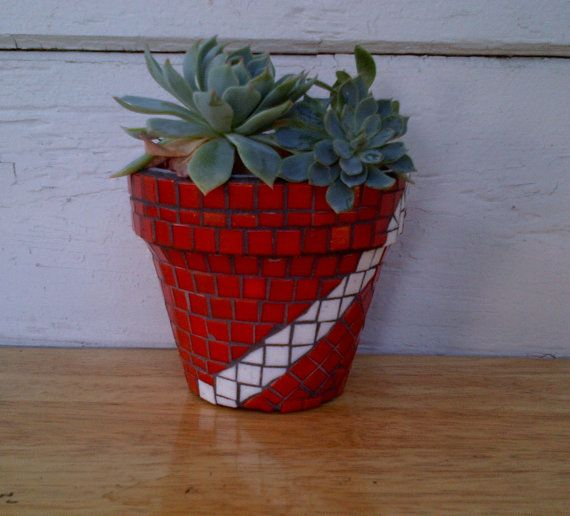 Tile Mosaic Planter Pot Succulents 4 Flower Pot Custom Colors Mosaic Planters Mosaic Flower Pots Mosaic Pots